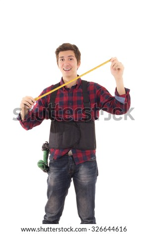 man with measuring tape handyman on white background - stock photo