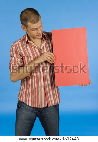 man with message board - stock photo