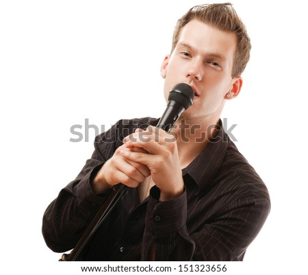 Man with microphone, isolated on white background - stock photo
