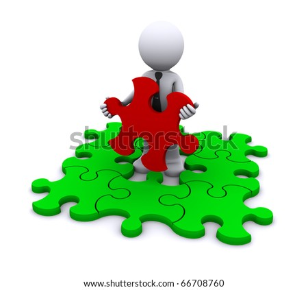 Man with missing piece of puzzle. Isolated. - stock photo