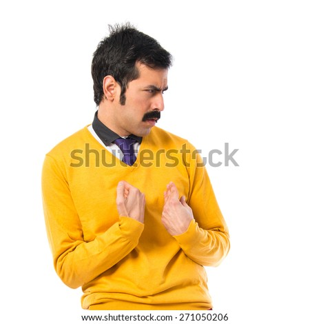 Man with moustache doing surprise gesture  - stock photo