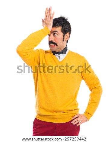 Man with moustache having doubts  - stock photo