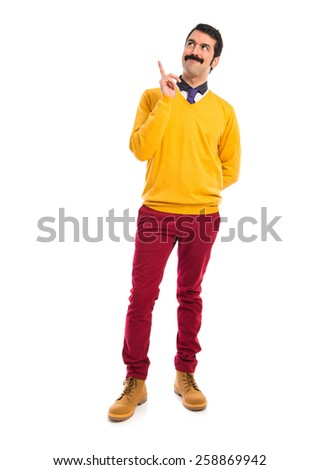 Man with moustache thinking over white background   - stock photo