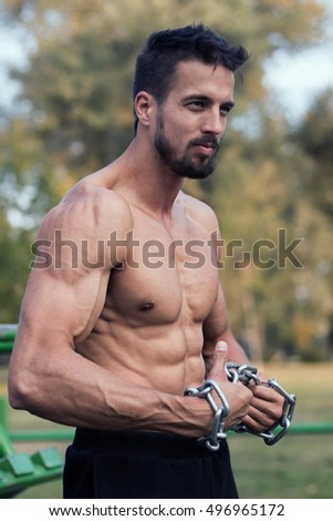 Man with muscular torso. Muscular Man Fitness Model Torso showing.