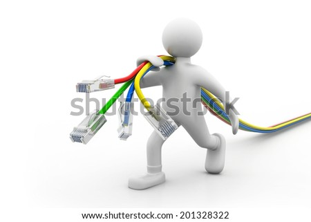 Man with network cables - stock photo