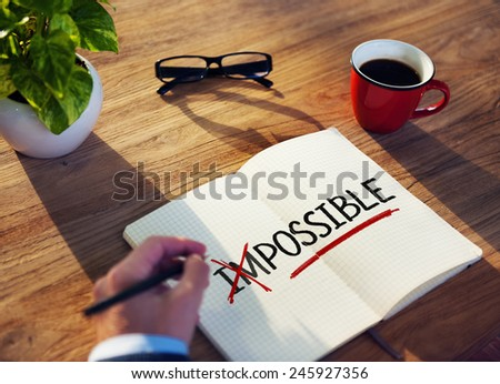 Man with Note Pad and Possibility Concepts - stock photo