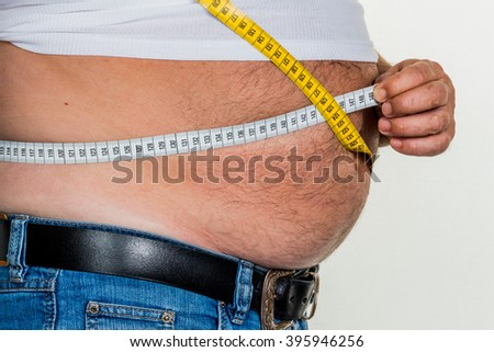 man with overweight - stock photo