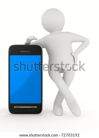 man with phone on white. Isolated 3D image - stock photo