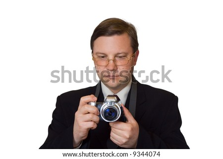 Man with photo camera, isolated on white background - stock photo