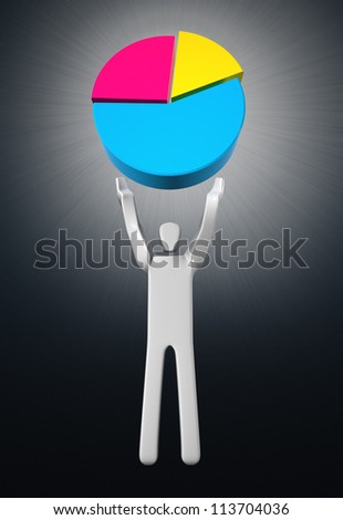 Man with pie chart over his head. Concept of achievement. - stock photo