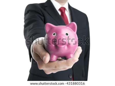 Man with piggy bank in hand. Clipping path included.