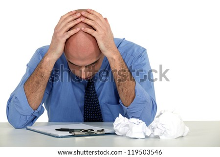 Man with problems - stock photo