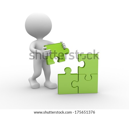 man with puzzle - stock photo