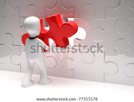 Man with puzzle. 3d illustration - stock photo
