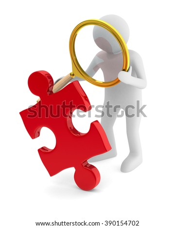 Man with puzzle on white background. Isolated 3D image