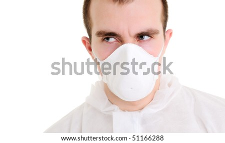 Man with respirator Isolated over white.