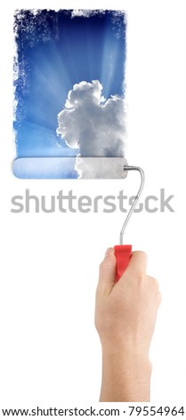 man with roller paint sky - stock photo