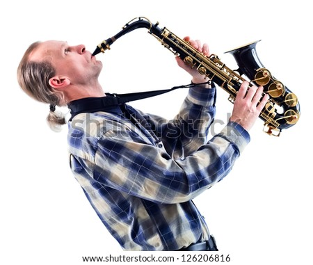 man with saxophone isolated on a white background - stock photo