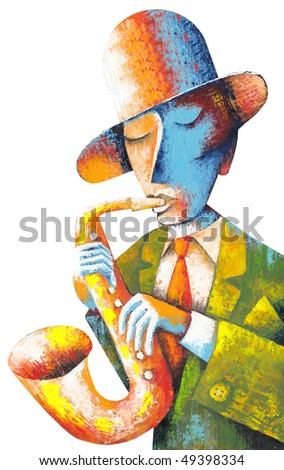 Man with saxophone on a blue background - stock photo