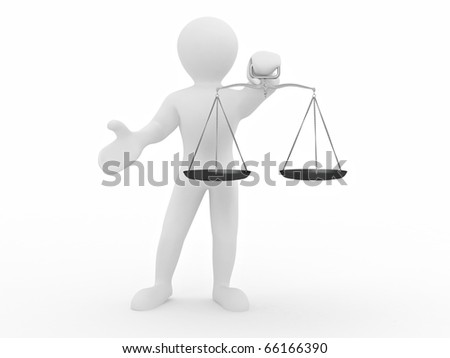 Man with scale. Symbol of justice. 3d - stock photo