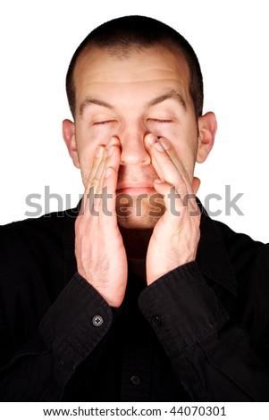 Man with Sinus Pressure - stock photo
