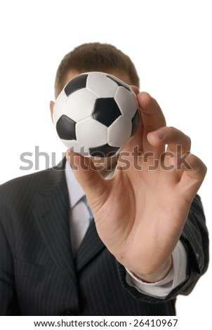 Man with soccer ball isolated on white - stock photo