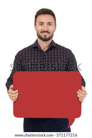 Man with speech bubble - stock photo