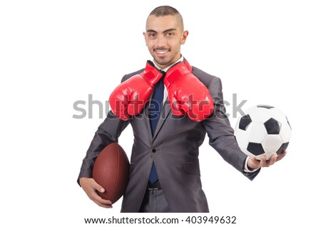 Man with sports gear isolated on the white - stock photo