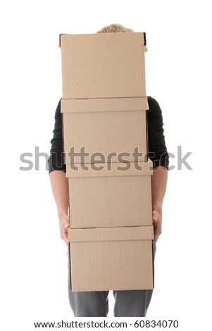 Man with stacked Boxes,isolated on white - stock photo