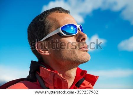 man with sunglasses - stock photo