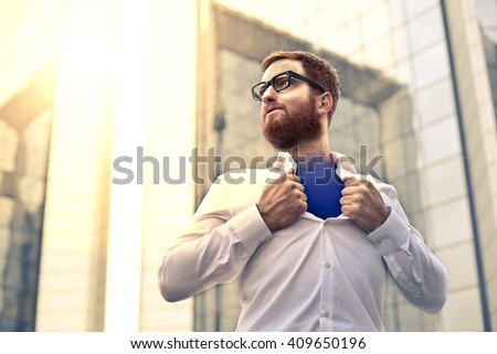Man with superpowers - stock photo