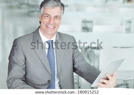 man with tablet - stock photo
