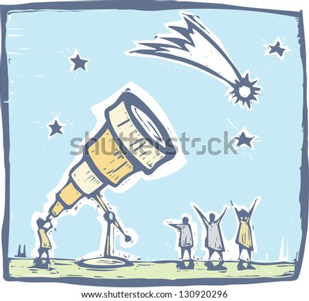 Man with telescope spies a comet in the sky. - stock photo