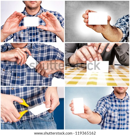 Man with the blank white card - stock photo