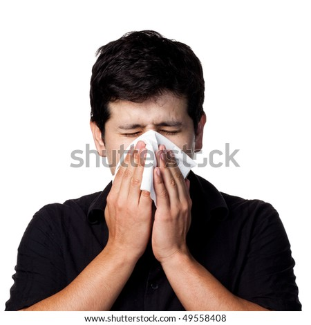 Man with the flu - stock photo