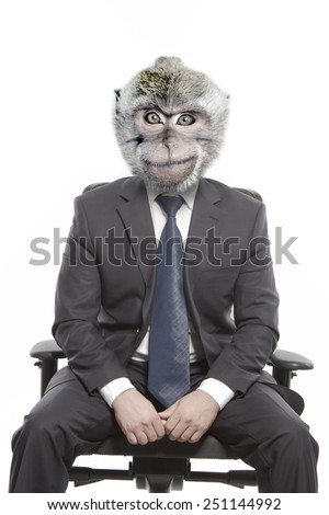 Man with the head of a monkey in a jacket sitting on a chair - stock photo