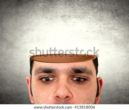 man with the open head - stock photo