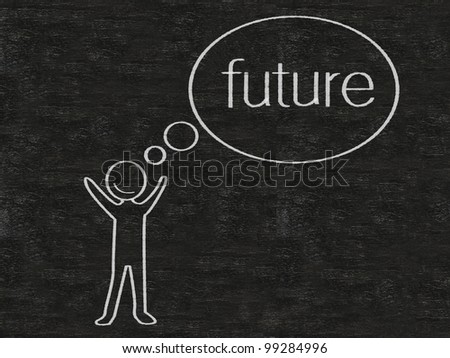 man with think bubble future written on blackboard background, high resolution - stock photo