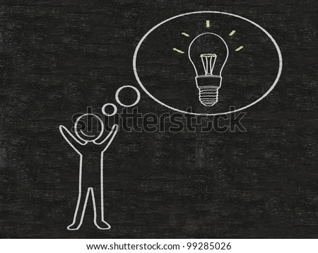 man with think bubble ideas written on blackboard background, high resolution - stock photo