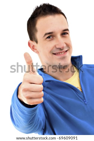 Man With Thumb Up - stock photo
