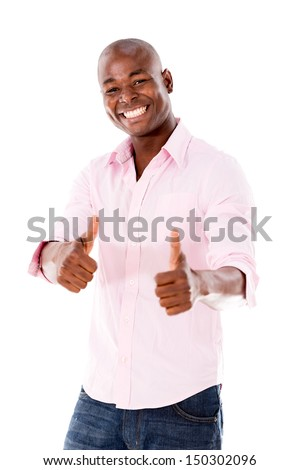 Man with thumbs up looking very happy - isolated over white  - stock photo