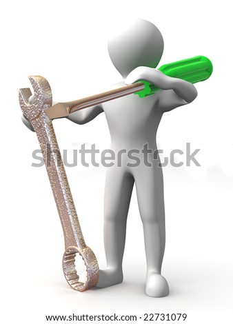 Man with tools. Maintenance. 3d - stock photo