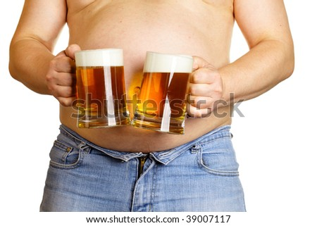 Man with two beer mugs isolated over white baclground - stock photo