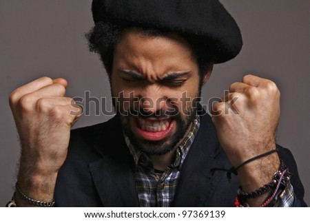 man with two fist