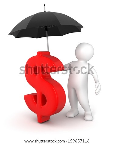 Man with Umbrella and Dollar Sign (clipping path included) - stock photo