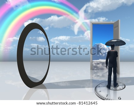 man with umbrella and mirror opening - stock photo