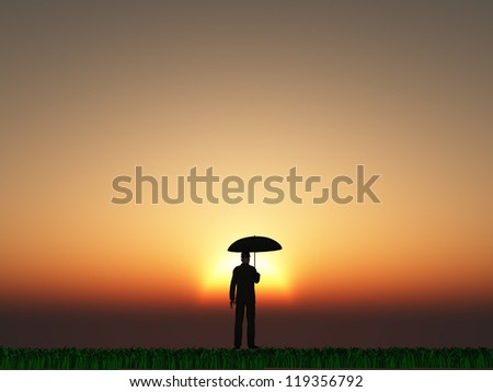 Man with umbrella and sun