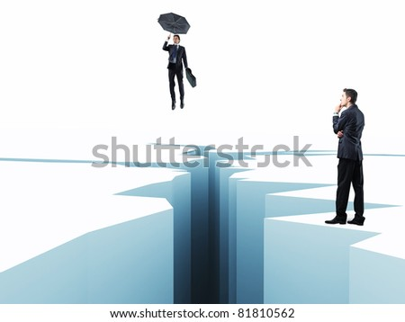 man with umbrella fly over 3d crack - stock photo