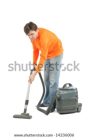 Man with vacuum cleaner isolated over white background