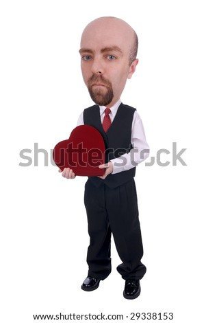 Man with valentine heart box of chocolate over a black background - stock photo